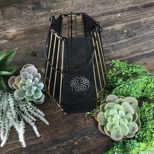 BLACK & GOLD Hanging Candle lantern